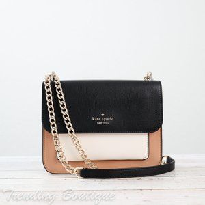 NWT Kate Spade Remi Colorblock Flap Chain Crossbody Shoulder Bag in Neutral